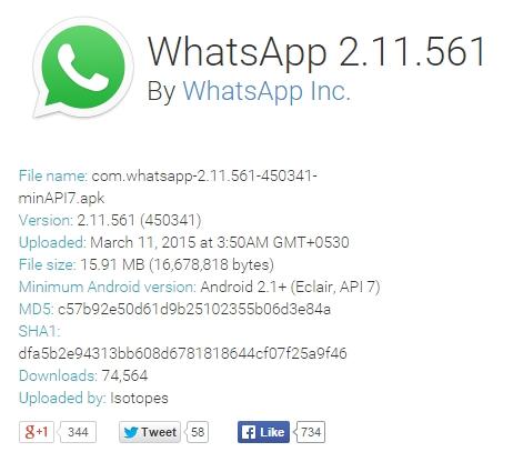 whatsapp new version download